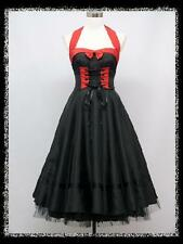 dress190 BLACK & RED 50s HALTER CORSET ROCKABILLY SWING PIN-UP VINTAGE DRESS 16