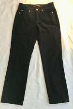 "Cambio Womens Norah Black Cotton Velvet Jeans Straight Leg Sz 4 - 27.5"" Inseam"