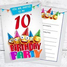 Emoji 10th Birthday Invitations - Ready to Write with Envelopes (Pack 10)