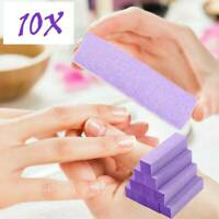 10pcs Purple Acrylic Nail Buffer Buffing Sanding Block Files Salon Art Tools UK