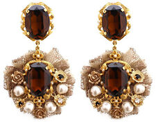 Dolce & Gabbana ♡ Gold Tone Crystals Baroque Pearls Lace Clip On Floral Earrings