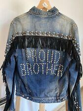 Dsquared2 Studded Denim Leather Fringes Jacket Dsquared Pelle Reteil $2500,00