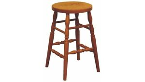 Country Bar Stool Solid Oak Amish Made! Pick - Swivel - Wood - Stain - Height!