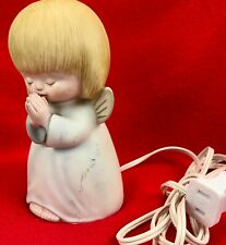 Vintage Praying Cherub Angel Light Up Night Light Lamp Figurine Little Girl