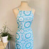 Ootd Mombasa Rose 8 Maxi Racer Dress Turquoise White Rayon Australian Designer