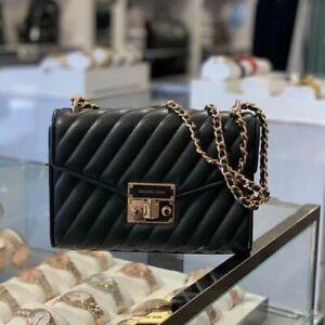 Michael Kors MD Rose Quilte Vegan Faux Leather  Shoulder Flap Bag Black/Gold