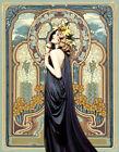 Mucha 11 X 14 Canvas Print Lady in Blue Gown Vintage Art Nouveau Deco