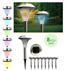 Outdoor Stainless Steel Color Changing LED Lights Solar Landscape Path 8Pcs Lamp