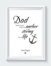 Personalised Fathers Day Gift Quote Dad Grandad From Son Daughter Print ONLY