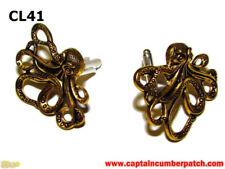 steampunk jewellery cufflinks gold brass octopus kraken pirate Black Sails #CL41