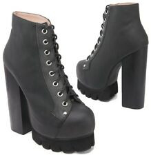 ICONIC 4 37 BNWOB JEFFREY CAMPBELL NOLA  LEATHER PLATFORM CLEATED SOLE BOOTS