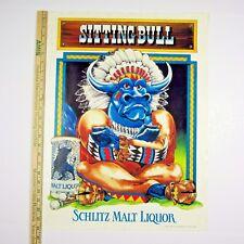 Schlitz SITTING BULL Original 1984 Poster 18x24 Stroh Brewery Detroit #89728