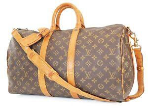 Authentic LOUIS VUITTON Keepall Bandouliere 45 Monogram Canvas Duffel Bag #39107