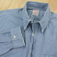vtg usa made BROOKS BROTHERS blue gingham shirt MEDIUM ivy trad distressed