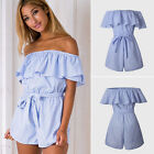 Womens Summer Holiday Striped Playsuit Beach Shorts Strappy Romper Mini Jumpsuit