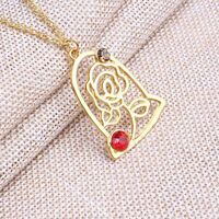 Beauty and the Beast Enchanted Rose Petal Necklace Chain Pendant Woman New