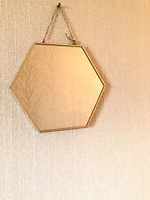 Gold Hexagon Mirror with Vintage Chain Hanging