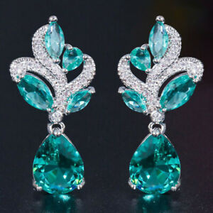 Stunning Aquamarine White Sapphire Silver Earrings Dating Daily Wear Gifts