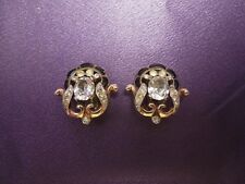 Crown Trifari Vintage Rhinestone Enamel Earrings Clip Vintage Philippe