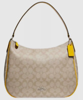 New Coach F29209 Zip Shoulder bag in Coated Canvas handbag Light Khaki / Canary