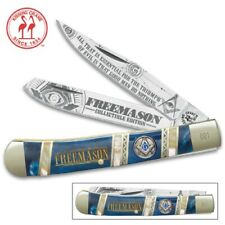 "Masonic Kissing Crane Large 4"" Two Blade Trapper Pocket Knife KC5579"