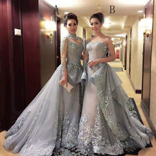 New Long Sleeve Evening Dresses Appliques Party Prom Ball Gowns Train Custom
