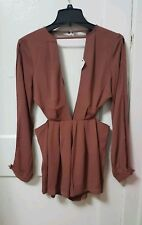 Women's Akira Brown Deep V Side Cut Out Romper Dress Size Medium M NWT