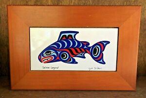 """Joe Wilson Northwest Native Artist """"Salmon Legend"""" Fish Tile Wooden Storage Box"""