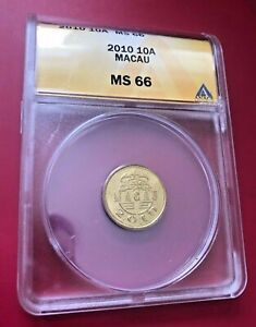 2010 Macau 10 Avos (10 Cent, Yi Hao ) coin ANACS MS 66