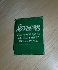 Vintage Matchbook J Muffins Fine Food & Spirits High Street Mt Holly New Jersey