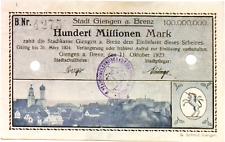 1923 Germany GIENGEN 100.000.000 / 100 Million Mark Banknote