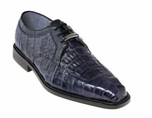 Belvedere Men's Dress Shoes Susa Genuine Crocodile Leather Navy P32