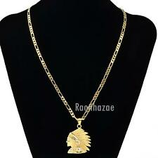 """MENS NATIVE GOLD APACHE FACE PENDANT W 5mm 24"""" BRASS FIGARO CHAIN NECKLACE K435G"""