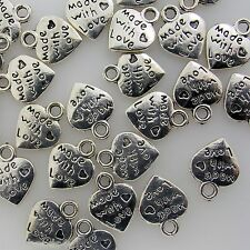 """Silver Alloy Metal Small """"Made with Love"""" Charms 14 Pieces  9mm x 11mm  #0407"""