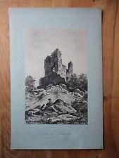 Ancienne estampe Lithographie paysage près Mortefontaine tour Rochefort tableau.