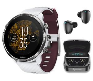 SUUNTO 7 White Burgundy GPS Smartwatch with Wearable4U EarBuds Power Bundle