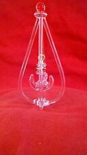 Blown Glass Figurine - Clear Hanging Anchor Ornament with Gold Trim