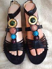 Ladies Size 6 Black Embellished Wedge Heel Sandals NOW REDUCED