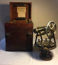 Antique W & LE Gurley BRASS SURVEYOR TRANSIT SCOPE in ORIGINAL CASE LEVEL