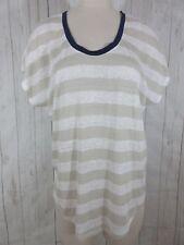6a56c03c6ee65 Joie Size L Beige Striped 100% Linen Short Sleeve Blouse Top