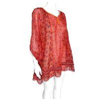 NEW Poupette St. Barth Coral Red Poncho Chacha Sari Dress $490.00 NWT / 166