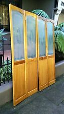 4x Bi-fold bifold door timber wooden patterned glass 2000 x1610 plus tracking