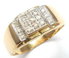 SYJEWELLERY 9CT YELLOW GOLD NATURAL DIAMONDS MEN'S GENT'S RING   SIZE T    R1196