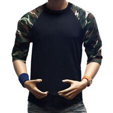 Men's Long Sleeve Baseball T-Shirt Raglan Jersey Casual Crew Neck Tee Shirt Tops