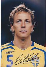 Erik di edman Svezia International 2001 - 2009 originale firmato a mano grande fotografia
