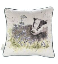 Wrendale Designs Badger Cushion 'A Country Gent' Illustrated by Hannah Dale,