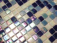 Glasmosaik Fliesen Mosaik PERLMUTTEFFEKT blau weiss Perlmutt Bad Pool   1 qm