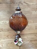 VTG 1960's-1970's Grape Vines Pattern Amber Glass Wood Gold Tone Hanging Shade