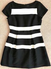 ANN TAYLOR BLACK WHITE STRIPE FIT & FLARE DRESS $139 10