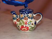 Genuine Handmade UNIKAT Polish Pottery Tea Pot Ornament!  Zoey Pattern!